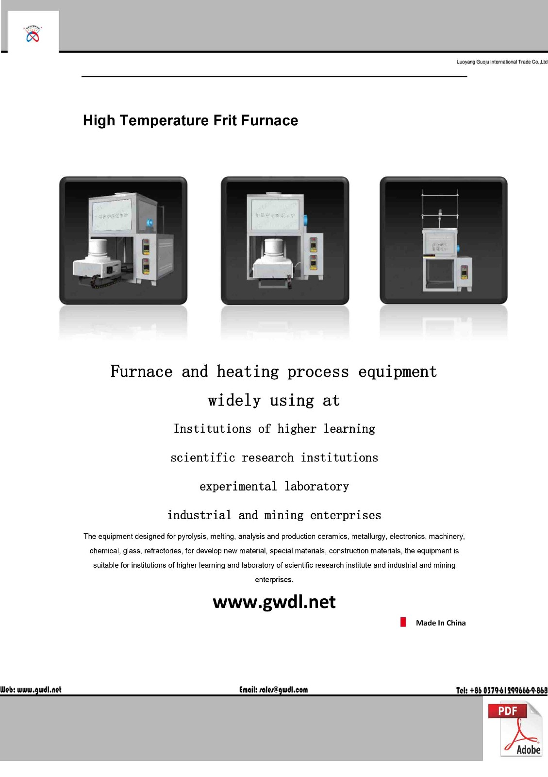High Temperature Large Scale Lifting Frit Furnace(GWL-R)