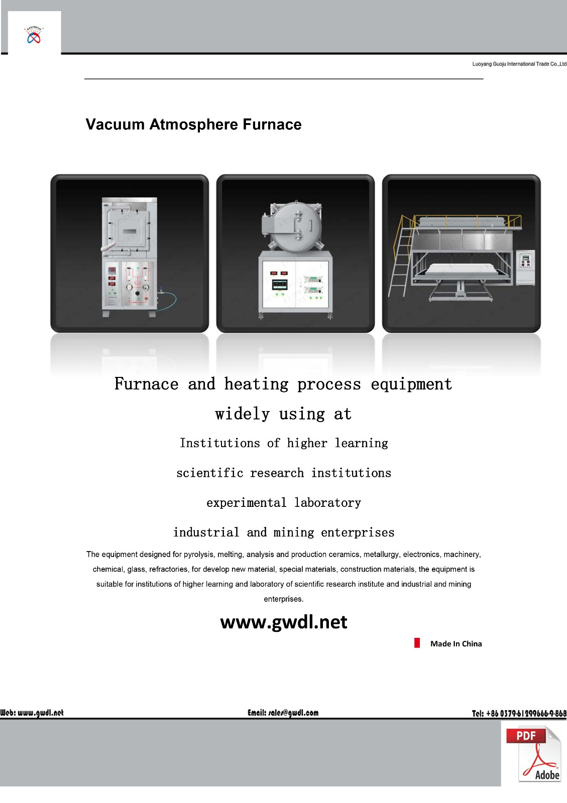 High Temperature Vacuum Atmosphere Lift (Screw Mandrel) Furnace(GWL-ZQSS)